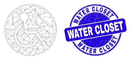 Web mesh wheelchair person pictogram and Water Closet seal. Blue vector round distress watermark with Water Closet message.