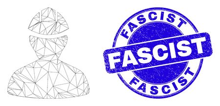 Web mesh worker pictogram and Fascist seal stamp. Blue vector round scratched seal with Fascist message. Abstract frame mesh polygonal model created from worker pictogram. Illusztráció