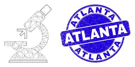 Web mesh microscope icon and Atlanta seal stamp. Blue vector round textured seal stamp with Atlanta title. Abstract frame mesh polygonal model created from microscope pictogram.