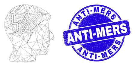 Web mesh migraine head icon and Anti-Mers seal stamp. Blue vector rounded grunge seal stamp with Anti-Mers phrase. Abstract carcass mesh polygonal model created from migraine head icon.