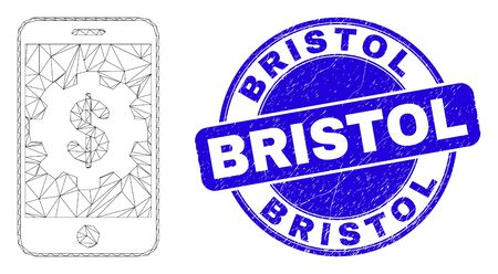 Web mesh mobile bank settings pictogram and Bristol seal stamp. Blue vector rounded distress stamp with Bristol caption.