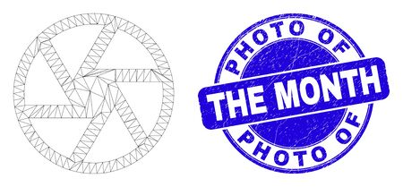 Web mesh shutter icon and Photo Of The Month seal stamp. Blue vector round textured seal stamp with Photo Of The Month caption. Abstract carcass mesh polygonal model created from shutter icon.