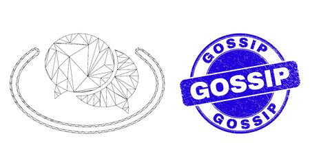 Web carcass social network messages pictogram and Gossip seal. Blue vector round grunge seal with Gossip phrase. Abstract carcass mesh polygonal model created from social network messages pictogram. Vectores