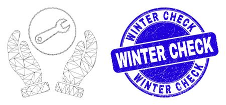 Web mesh wrench repair hands pictogram and Winter Check seal stamp. Blue vector round textured stamp with Winter Check text.