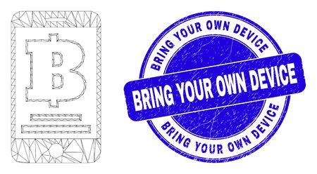 Web carcass mobile bank icon and Bring Your Own Device watermark. Blue vector round textured seal with Bring Your Own Device caption.