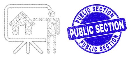 Web mesh realtor public report pictogram and Public Section seal stamp. Blue vector round grunge stamp with Public Section phrase.