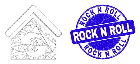 Web mesh refresh house pictogram and Rock N Roll seal stamp. Blue vector round distress seal stamp with Rock N Roll text. Abstract frame mesh polygonal model created from refresh house pictogram.