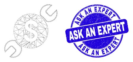 Web carcass wrench repair price icon and Ask an Expert seal stamp. Blue vector round grunge seal stamp with Ask an Expert message.