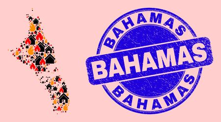 Fire disaster and houses mosaic Andros Island of Bahamas map and Bahamas textured stamp imitation. Vector collage Andros Island of Bahamas map is formed with randomized burning homes.