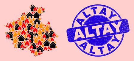 Fire disaster and homes collage Altai Republic map and Altay corroded watermark. Vector mosaic Altai Republic map is designed of scattered burning homes. 矢量图像