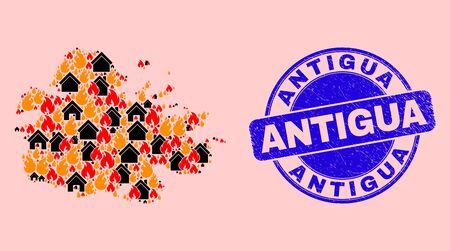 Fire and buildings collage Antigua Island map and Antigua unclean stamp imitation. Vector collage Antigua Island map is composed with randomized burning towns.