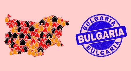 Fire hazard and houses composition Bulgaria map and Bulgaria unclean seal. Vector collage Bulgaria map is composed from random burning homes. 向量圖像