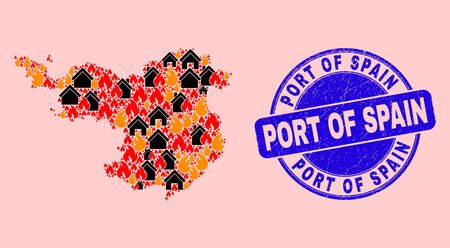Fire and houses combination Gerona Province map and Port of Spain corroded stamp seal. Vector collage Gerona Province map is done with randomized burning cities. Stock Illustratie