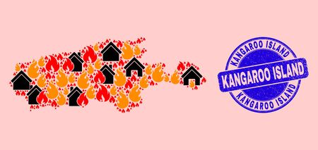 Fire and houses composition Kangaroo Island map and Kangaroo Island grunge stamp imitation. Vector collage Kangaroo Island map is formed of random burning cities. Vettoriali
