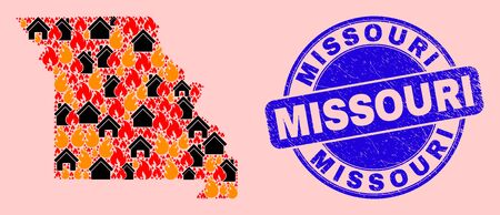 Fire disaster and buildings collage Missouri State map and Missouri dirty seal. Vector collage Missouri State map is done from random burning homes.