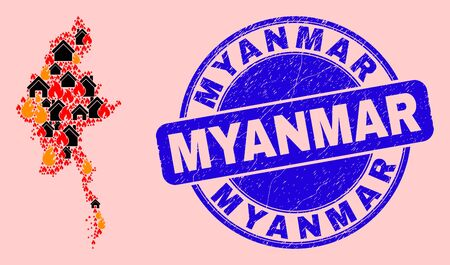 Fire disaster and property collage Myanmar map and Myanmar scratched watermark. Vector collage Myanmar map is done of random burning houses. Myanmar map collage is designed for disaster posters. Vettoriali