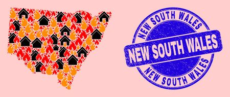 Fire and realty collage New South Wales map and New South Wales scratched stamp seal. Vector collage New South Wales map is designed from randomized burning towns.