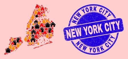 Fire disaster and property mosaic New York City map and New York City grunge watermark. Vector mosaic New York City map is created of random burning villages.