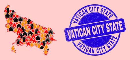 Fire disaster and realty collage Uttar Pradesh State map and Vatican City State corroded seal. Vector collage Uttar Pradesh State map is designed of random burning homes.