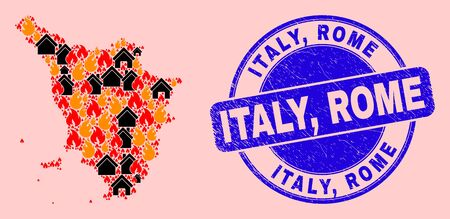 Fire disaster and buildings mosaic Tuscany region map and Italy, Rome dirty watermark. Vector collage Tuscany region map is organized of scattered burning cities. Stock fotó - 149952415