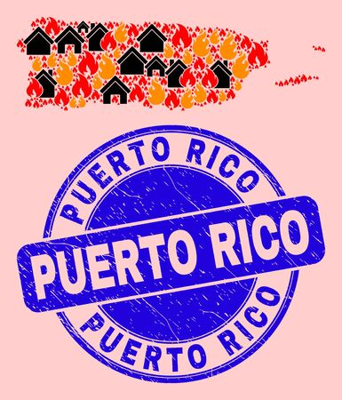 Fire hazard and realty collage Puerto Rico map and Puerto Rico corroded stamp print. Vector collage Puerto Rico map is done of randomized burning houses. 스톡 콘텐츠 - 149952464
