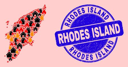 Fire disaster and buildings composition Rhodes Island map and Rhodes Island unclean stamp imitation. Vector collage Rhodes Island map is created from randomized burning homes.