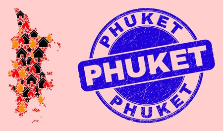 Fire and houses combination Phuket map and Phuket rubber stamp imitation. Vector collage Phuket map is constructed with scattered burning towns.