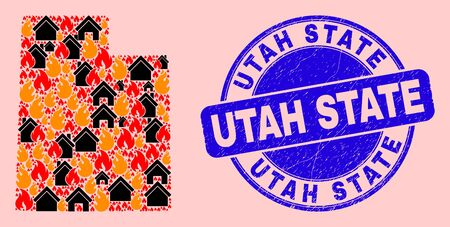 Fire disaster and buildings collage Utah State map and Utah State scratched watermark. Vector collage Utah State map is constructed from scattered burning villages.