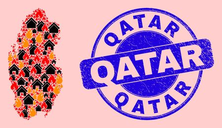Fire hazard and property collage Qatar map and Qatar rubber stamp imitation. Vector collage Qatar map is done from randomized burning towns. Qatar map collage is formed for revolt posters. 일러스트