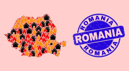 Flame and buildings collage Romania map and Romania corroded stamp seal. Vector collage Romania map is formed of scattered burning homes. Romania map collage is formed for revolution illustrations.