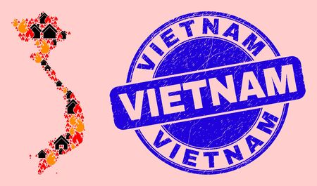 Fire and buildings mosaic Vietnam map and Vietnam textured stamp seal. Vector collage Vietnam map is constructed of scattered burning houses.