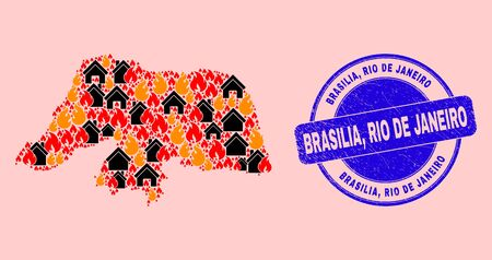 Fire and houses collage Rio Grande do Norte State map and Brasilia, Rio De Janeiro grunge stamp. Vector collage Rio Grande do Norte State map is created from scattered burning houses.