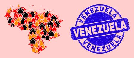 Fire disaster and homes mosaic Venezuela map and Venezuela unclean stamp. Vector mosaic Venezuela map is created with scattered burning homes. Venezuela map collage is designed for revolt posters.