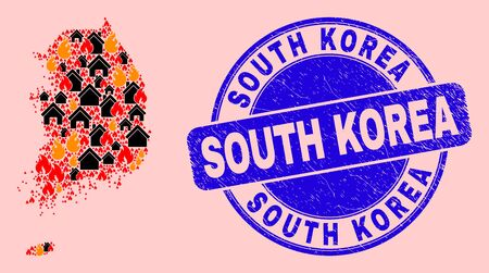 Fire and buildings mosaic South Korea map and South Korea unclean seal. Vector collage South Korea map is made of randomized burning towns.