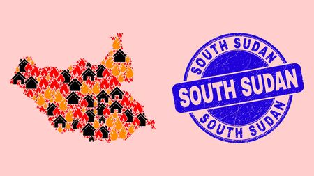 Fire disaster and buildings mosaic South Sudan map and South Sudan textured stamp imitation. Vector mosaic South Sudan map is designed of random burning houses.