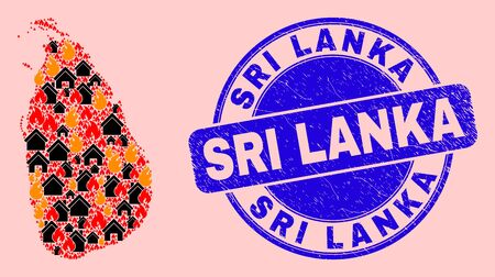 Fire and realty collage Sri Lanka map and Sri Lanka unclean seal. Vector mosaic Sri Lanka map is formed with randomized burning towns. Sri Lanka map collage is formed for fire guard purposes.