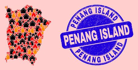 Fire disaster and homes combination Penang Island map and Penang Island grunge stamp. Vector collage Penang Island map is designed of random burning houses. 일러스트