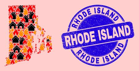 Fire disaster and property collage Rhode Island State map and Rhode Island corroded watermark. Vector collage Rhode Island State map is made from scattered burning houses.