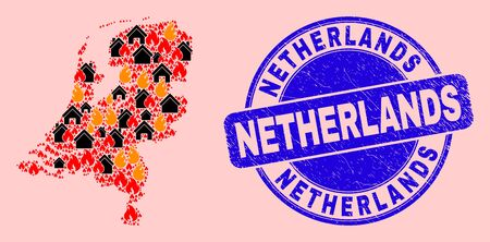 Flame and homes mosaic Netherlands map and Netherlands rubber stamp imitation. Vector mosaic Netherlands map is organized of scattered burning homes. 스톡 콘텐츠 - 149964829