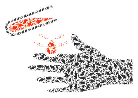 acid damaged hand mosaic is composed of scattered recursive acid damaged hand elements. Recursive collage of acid damaged hand.