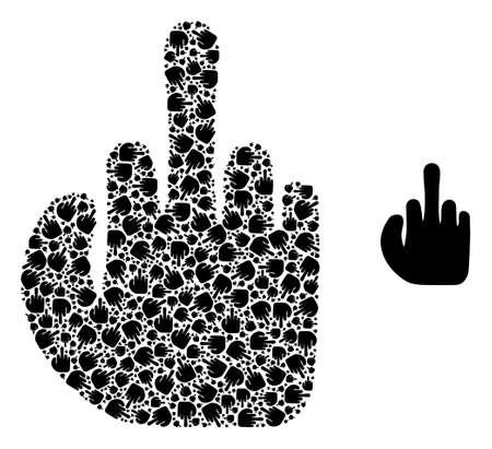 asshole finger collage is made from randomized recursive asshole finger icons. Recursive mosaic from asshole finger. Illusztráció