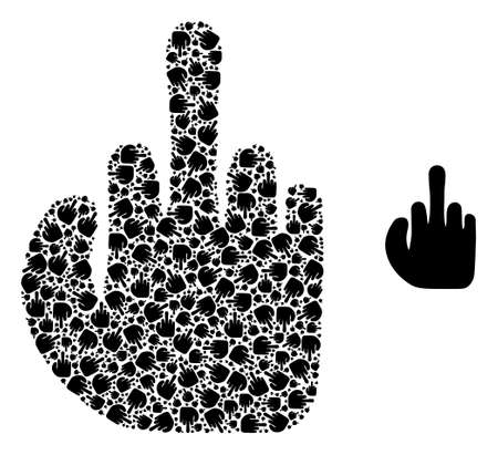 finger collage is made from randomized recursive finger icons. Recursive mosaic from finger. Vektoros illusztráció