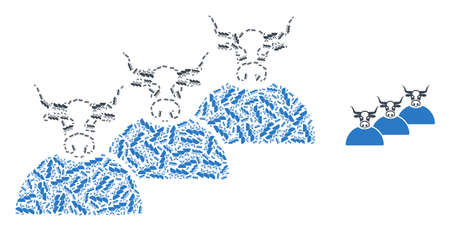 livestock herd mosaic is created from scattered self livestock herd parts. Fractal mosaic from livestock herd. 矢量图像