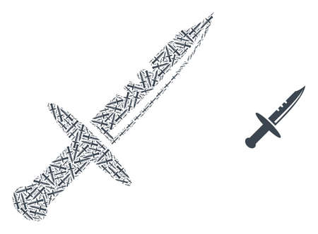 sword collage is made of random recursive sword pictograms. Recursion collage of sword. 免版税图像 - 155034001
