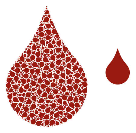 red blood drop mosaic is constructed of random recursive red blood drop parts. Recursive collage of red blood drop.