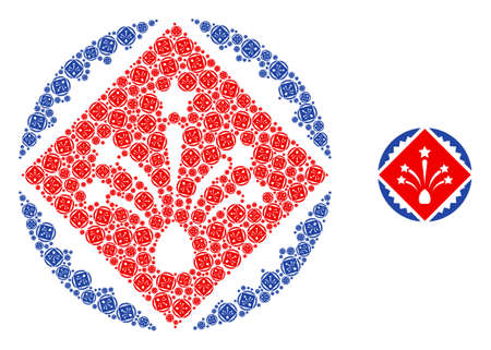 rhombus fireworks stamp seal mosaic is composed of repeating recursive rhombus fireworks stamp seal icons. Recursive collage of rhombus fireworks stamp seal.