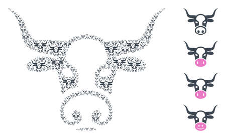 Vector bull head composition is made from randomized recursive bull head parts. Recursive combination from bull head. Some other icons are present in this vector. 向量圖像