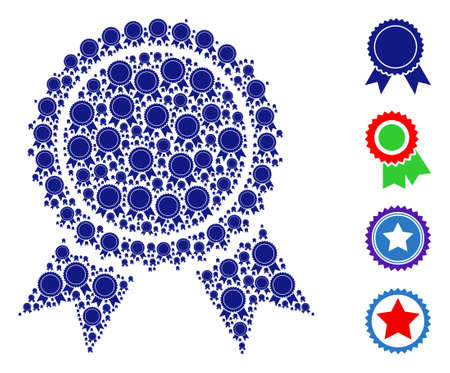 Vector certificate seal composition is made with repeating recursive certificate seal icons. Recursion composition for certificate seal. Some other icons are present in this vector.