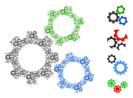 Vector cogwheels collage is created with repeating recursive cogwheels items. Fractal collage for cogwheels. Some other icons are present in this vector.