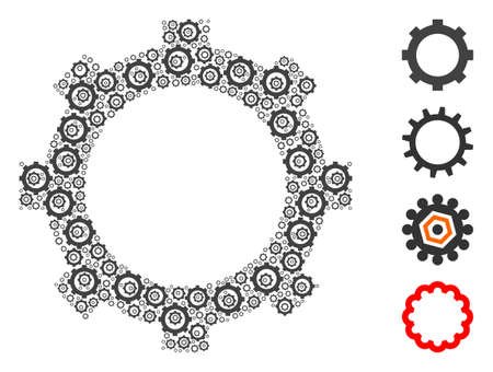 Vector cog composition is done from randomized self cog icons. Recursion mosaic from cog. Some other icons are present in this vector.